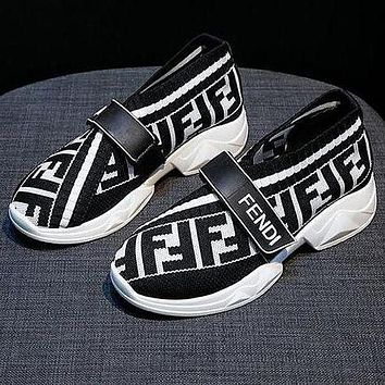 FENDI Newest Fashion Women Leisure Breathable Knit Running Sport Shoes Sneakers