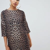 PrettyLittleThing t-shirt dress in leopard at asos.com