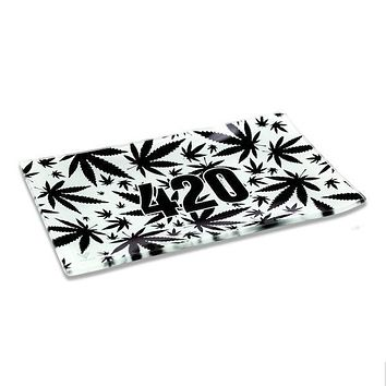 420 Black & White Glass Tray