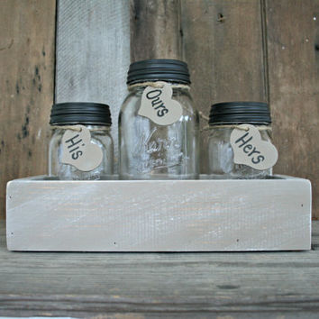 Wedding Sand Ceremony Set - Country, Shabby Chic, Rustic, Woodland - Mason Jar Set - Antiqued and Distressed, Painted in Coco