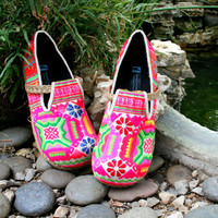 Vegan Womens Shoes, Colorful Hmong Embroidered Floral Loafers - Casey