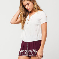 PATRONS OF PEACE Embroidered Border Womens Shorts | Shorts