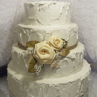 Ivory Rose Cake Topper Pick embellished with burlap, lace and leaves. 5 yards of twine for tier included. Ready to ship!