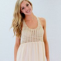 Crochet & Chiffon Dress - Always a Runway Clothing