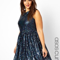 ASOS CURVE Smock Dress In Holographic Sequin