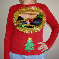Sexy Ugly Christmas Sweater, Woman's Medium, Boob, cut out, chest, breasts, xmas sweater, unique, ugly christmas sweater, one of a kind