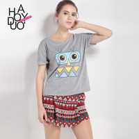 Haoduoyi Womens Summer Short Sleeve O-Neck Cartoon Cute T-shirt Casual Basic Tops Sexy Harajuku Loose Femme Tees