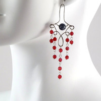 Red and Grey Victorian Chandelier Earrings in by Arthlin on Etsy