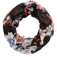 Black Combo Floral Print Infinity Scarf by Charlotte Russe