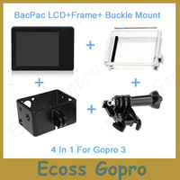Gopro hero3 LCD screen BacPac display Viewer + Backdoor Case cover + Gopro Expand Protective Frame For gopro accessories