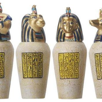 Egyptian Canopic Jar Set of 4 Jackal Falcom Human Lion 3.5H