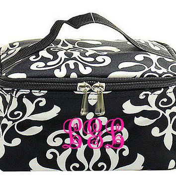 Monogrammed Cosmetic Bag  Black and White Damask Cosmetic Bag  Monogrammed Makeup Bag