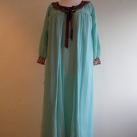 """Vintage blue peignoir negligee and long nightgown set in sheer chiffon and lace 34-36"""""""