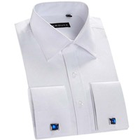 Recommend France cufflink regular fit turn-down collar long sleeve solid twill  business men shirts banquet party male clothes