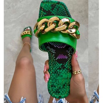 New style slippers ladies metal chain large size flip flops