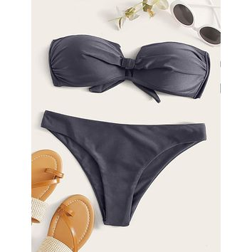 Ruched Knot Back Bandeau Bikini Swimsuit
