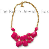 Hot Pink Geometric stone necklace new years statement bib with gold chain necklace with sparkle