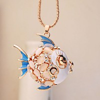 Colorful Tropical Fish Rhinestone Necklace