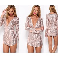 Sexy Gold Sequined Party Dress Deep V Neck Short Above Knee Long Sleeves Event Club Cocktail  XS S M bodycon tight fit sheath