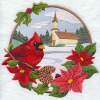 CARDINAL and CHURCH-Country Christmas - Machine Embroidery Quilt Block (AzEB)