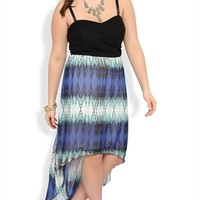 Plus Size Dress with Crochet Bodice and Tribal Chiffon High Low Skirt