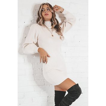 Lookin' Hot Ivory Ribbed Sweater Dress