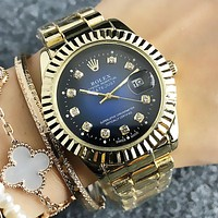 Rolex Fashion New Dial Diamond Couple Business Leisure Wristwatch Watch