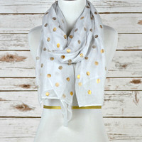 Polka Dot Scarf - White w/ Gold