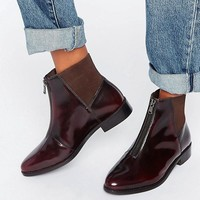 ASOS ALSACE Leather Zip Ankle Boots at asos.com