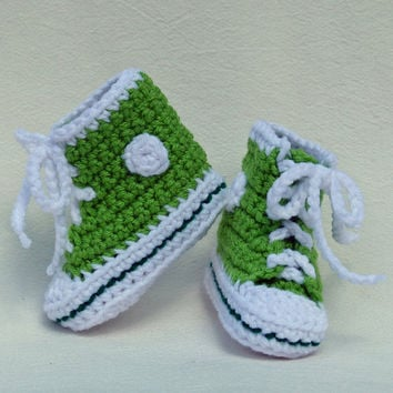 Lime and Green High Top Sneaker Chucks Converse Style Keds Style Crocheted Baby Booties 3 to 6 months this pair ready now