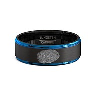 Finger Print Engraved Two-Tone Black Brushed Tungsten Ring With Blue Step Edges