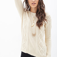 FOREVER 21 Slouchy Cable Knit Sweater Cream