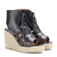 a.p.c. - leather espadrille wedge sandals