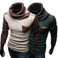 Funnel Neck Design Mens Trendy Sweater