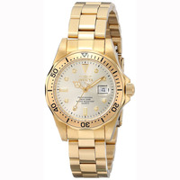 Invicta 4871 Women's Pro Diver Gold Tone Dial Yellow Gold Plated Steel Bracelet Dive Watch