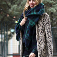 Blanket Scarf - Navy and Green Plaid