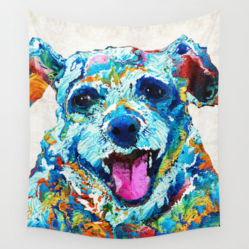 Colorful Dog Art - Smile - By Sharon Cummings Wall Tapestry by Sharon Cummings