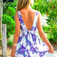 Floral Print Sleeveless Dress with Deep V Front & Back