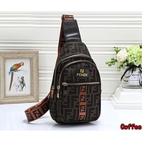 FENDI Newest Women Men Leather Backpack Bookbag Daypack Satchel Coffee