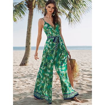 SHEIN Surplice Wrap Belted Tropical Print Cami Jumpsuit