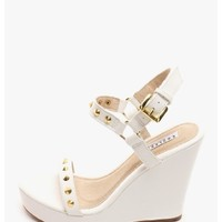 White Kayla Studded Wedges | $10.00 | Cheap Trendy Wedges Chic Discount Fashion for Women | ModDeals