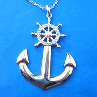 Anchor and Wheel Shaped Nautical Themed Pendant Necklace in Silver | DOTOLY