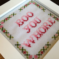 """PATTERN Mean Girls Cross Stitch """"Boo You Whore"""""""
