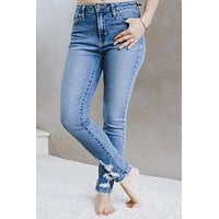 High Rise Distressed Ankles Skinny Jean (Sale)