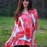 Coral and Taupe Printed Tunic Top with Asymmetrical Hemline