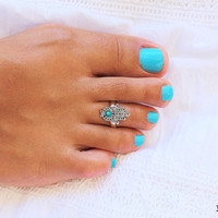 Gorgeous Hamsa Toe Ring - Turquoise Ring - Turquoise Toe Ring - Hamsa Ring - Hamsa Hand Adjustable Ring - Hamsa Jewelry - Gift idea