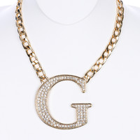 NECKLACE / PAVE CRYSTAL STONE / CHUNKY METAL BIB / LARGE G / LINK / CURB CHAIN / 14 INCH LONG / 3 INCH DROP / NICKEL AND LEAD COMPLIANT