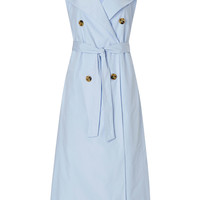 Pale Blue Sleeveless Trench Dress