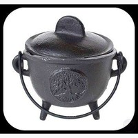 Tree of Life Cast Iron Cauldron with Lid