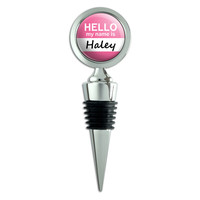 Haley Hello My Name Is Wine Bottle Stopper